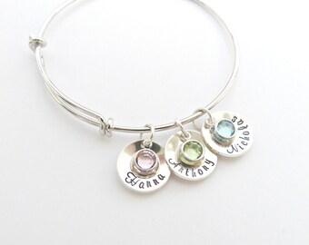 Personalized Name Bracelet, Grandma Birthstone Bracelet, Mom Jewelry,Gift for Mothers Day, Custom Name Jewelry, Birthstone Nana gift,