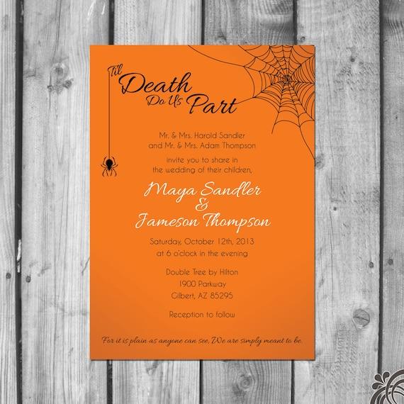 Halloween Themed Wedding Invitations Set