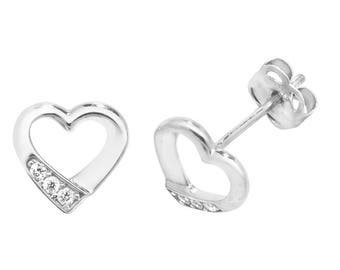 9ct Gold Small 7x5mm Heart Stud Earrings Set With Cubic Zirconia Stones
