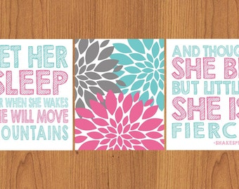 Let Her Sleep For When She Wakes And Though She Be But Little She is Fierce Pink Aqua Grey Nursery Wall Art Flower Burst 11x14 (74)