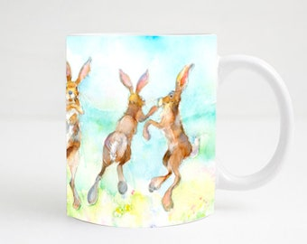 Dancing Hares - Ceramic Rabbit, Bunny, Hare Mug. Handmade printed onto Durham style mug from an Original Sheila Gill Watercolour