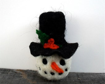 Catnip Cat toy  Snowman head, needle felted