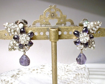 Haute Couture SIMAN TU Amethyst & Rhinestone Art Deco Earrings,Natural Gemstone Antique Silver Purple Bridal Dangle 1920 Flapper Flower Drop