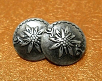Metal Buttons - Edelweiss Metal Buttons , Gray Silver Color , Shank , 0.59 inch , 10 pcs