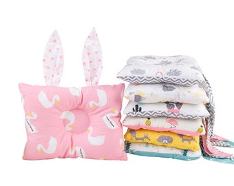 Muslin Soft Positioning, Neck Support, Pillow with Rabbit Ears for Infant, Baby and Toddler Gift