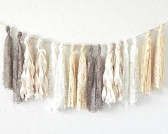 Fabric Tassel Garland Neutral, Lace Garland Banner Wedding, Boho Bridal Shower Decorations, Rustic Baby Shower Girl, White Nursery Decor