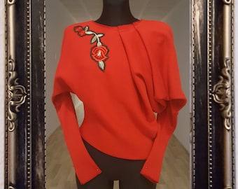 "Asymmetric sweater ""Red Rose of Berlin"" & ""Magnolia of Berlin"""