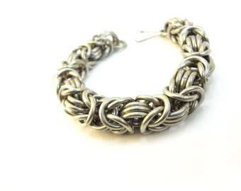 Heavy Duty Bracelet - Chainmaille Byzantine Weave - Large