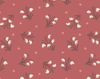 Brick Red Floral Fabric, Lewis and Irene Fabric,  Enchanted Forest LEI A186 2 Snowdrops, Flower Quilt Fabric, Cotton