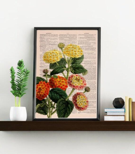 Lantanas bouquet printed on Dictionary Page wall art home decor, wall hanging, flower Lantana wall decor BFL110