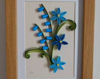paper quilling flower art, flower wall decor,blue flowers, house warming, home decor,gift for her, mothers day,nice gift