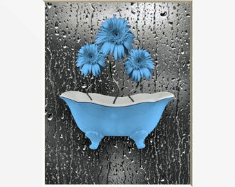 Blue Gray Daisy Flowers, Blue Daisy Bathtub Bathroom Decor, Powder Room Blue Artwork