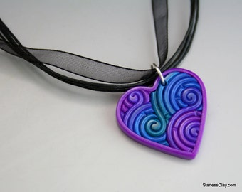 Jewel Tone Fimo Heart Pendant in Filigree Valentine's Day Gift