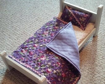 "18"" Doll Bed with mattress, quilt and pillow"