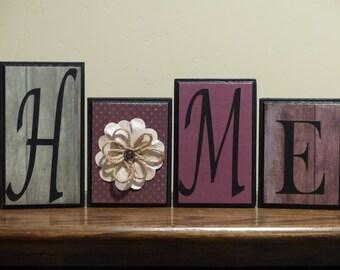 Home Decor - Word Blocks - Home custom letters - mantel living room decor - wedding house gift - family room decor - name block - home decor