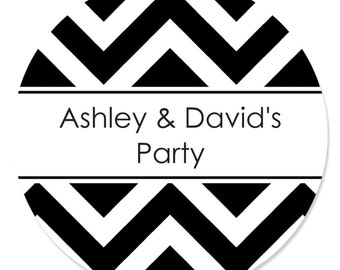 24 Chevron Black and White Circle Stickers - Personalized Baby Shower, Birthday Party, or Bridal Shower DIY Craft Supplies