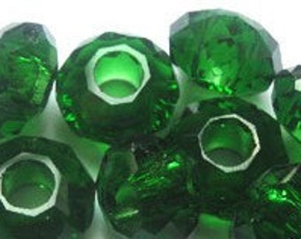 2013 Pantone Color of the Year Emerald Green Designer Glass Crystal Faceted Big Hole Beads 14x8mm 4 pieces
