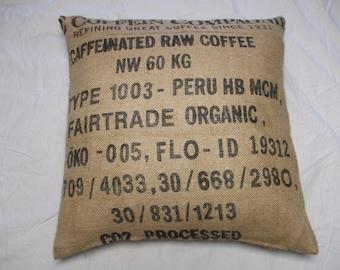 Recycled coffee sack cushion