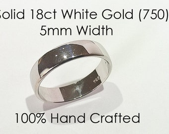 18ct 750 Solid White Gold Ring Wedding Engagement Friendship Friend Flat Band NEW 5mm