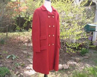 60s Red wool coat, herringbone coat, double breasted coat, Shagmoore coat, warm winter coat, large to XL