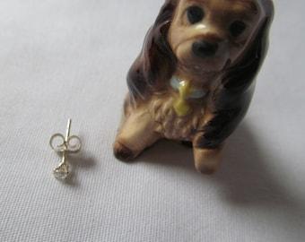 Single earring Unisex Dainty Diamond Sterling Silver Stud Post Earring April Birthstone Earring Nose Jewelry Sterling Silver Pierced stud