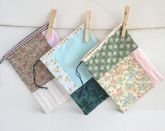 Green Patchwork Pouch Drawstring Organizer Bag Handmade Cotton Pouch Ready To Ship Free Shipping.
