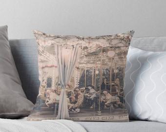 Paris pillow, carousel pillow, merry-go-round pillow, Paris nursery, baby's room, Paris carnival, Paris decor, gift for her, Paris cushion