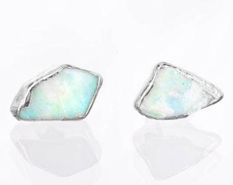 Silver Raw Opal Earrings, Opal Stud Earrings, Gemstone Earrings, Australian Opal Earrings, Raw Crystal Earrings, October Birthstone Earrings