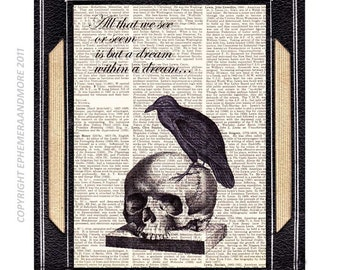 "NEVERMORE RAVEN art print with Poe Quote ""All that wee see or seem..."" horror literature vintage dictionary text book page skull 5x7, 8x10"