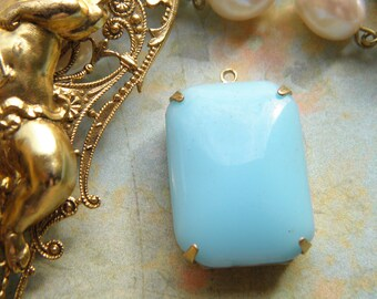 1 very large pendant retro 25x18mm blue chalcedony glass Golden finition brass structure jewelry vintage