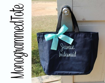 5 Wedding Tote Bags, Personalized Bridesmaid Gift Tote Bags- Bridesmaid Gift- Personalized Bridesmaid Tote- Wedding Party Gift- Name Tote-
