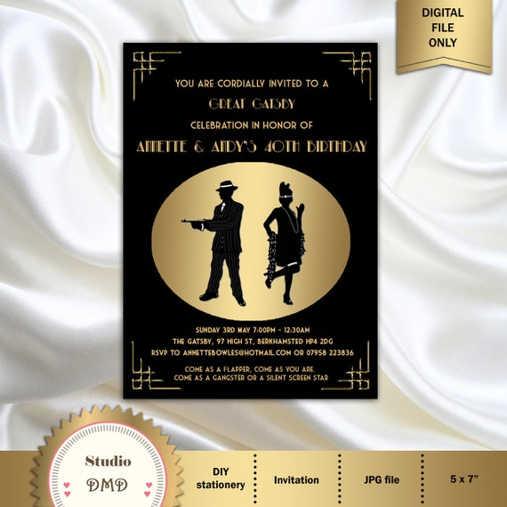 Great gatsby style art deco birthday party invitation 21st like this item filmwisefo Choice Image