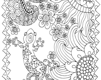 5 pages, Doodle Pack #3, 5 Adult Coloring Book Pages, Printable Instant Download