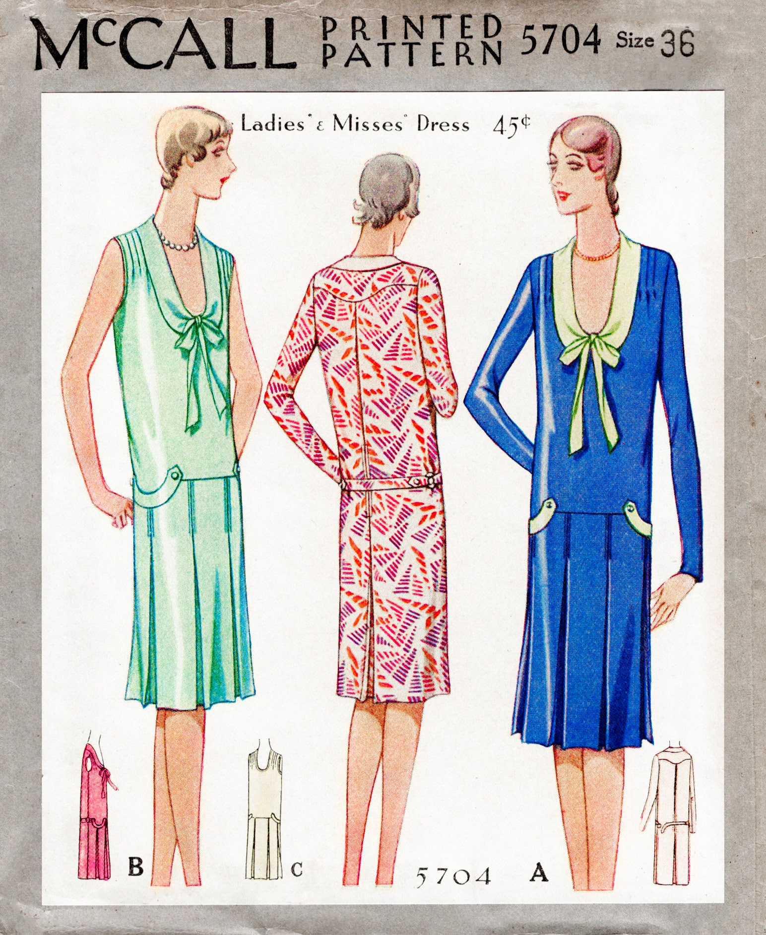 1920s dress vintage sewing pattern reproduction flapper pleat