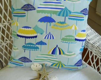 set of two aqua decorator pillow covers  beach umbrella motif