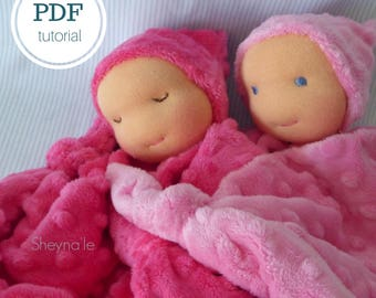 waldorf doll pattern pdf, instant download, doll making tutorial, diy doll, natural baby, soft toy pattern, how to handmade doll