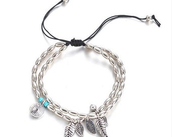 Double Silver Bead Anklet with Feathers