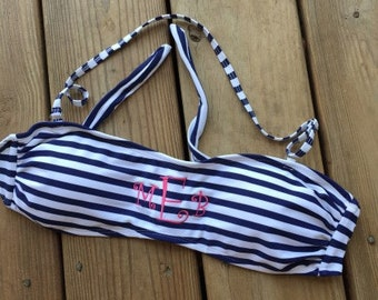 Monogram Bandeau Bikini Swim Top Monogrammed