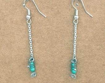 Green inductors Long Earrings
