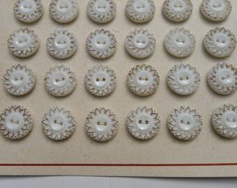 24 antiques buttons /original card/1930/glass WYSIWYG