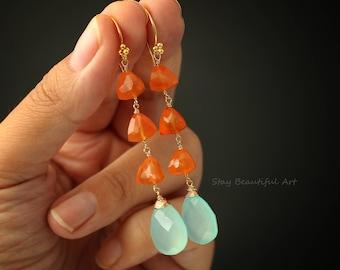Carnelian Earrings Chalcedony Earrings Gemstone Earrings Cluster Earrings Blue Earrings Orange Earrings Drop Earrings Long Earrings