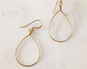 Einfach Gold Teardrop Ohrringe - Handmade - 14K Gold gefüllt