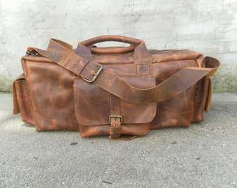 Leather Duffel Bag-Tan Leather Duffel Bag-Luggage Travel Duffel Bag