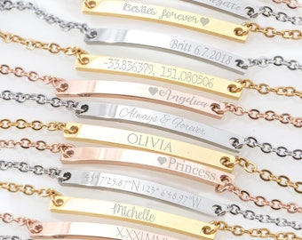 Custom Name bracelet, Skinny Bar bracelet, Engraved Personalized bracelet, Initial Bracelet, Nameplate Monogram, Mothers bracelet, thin bar