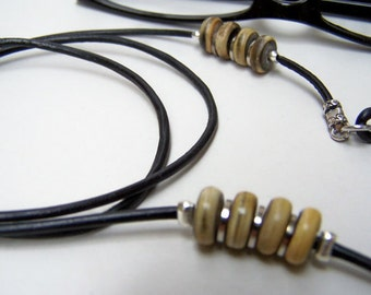 Mens Chain for Glasses- Natural Horn Beads, 2mm Leather Cord, Eyeglass Leash, by Eyewearglamour