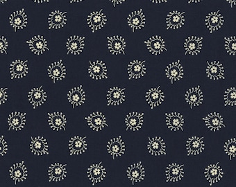 RJR Redwork Meets Bluework Navy Blue with White Floral Fabric 2425-002 BTY