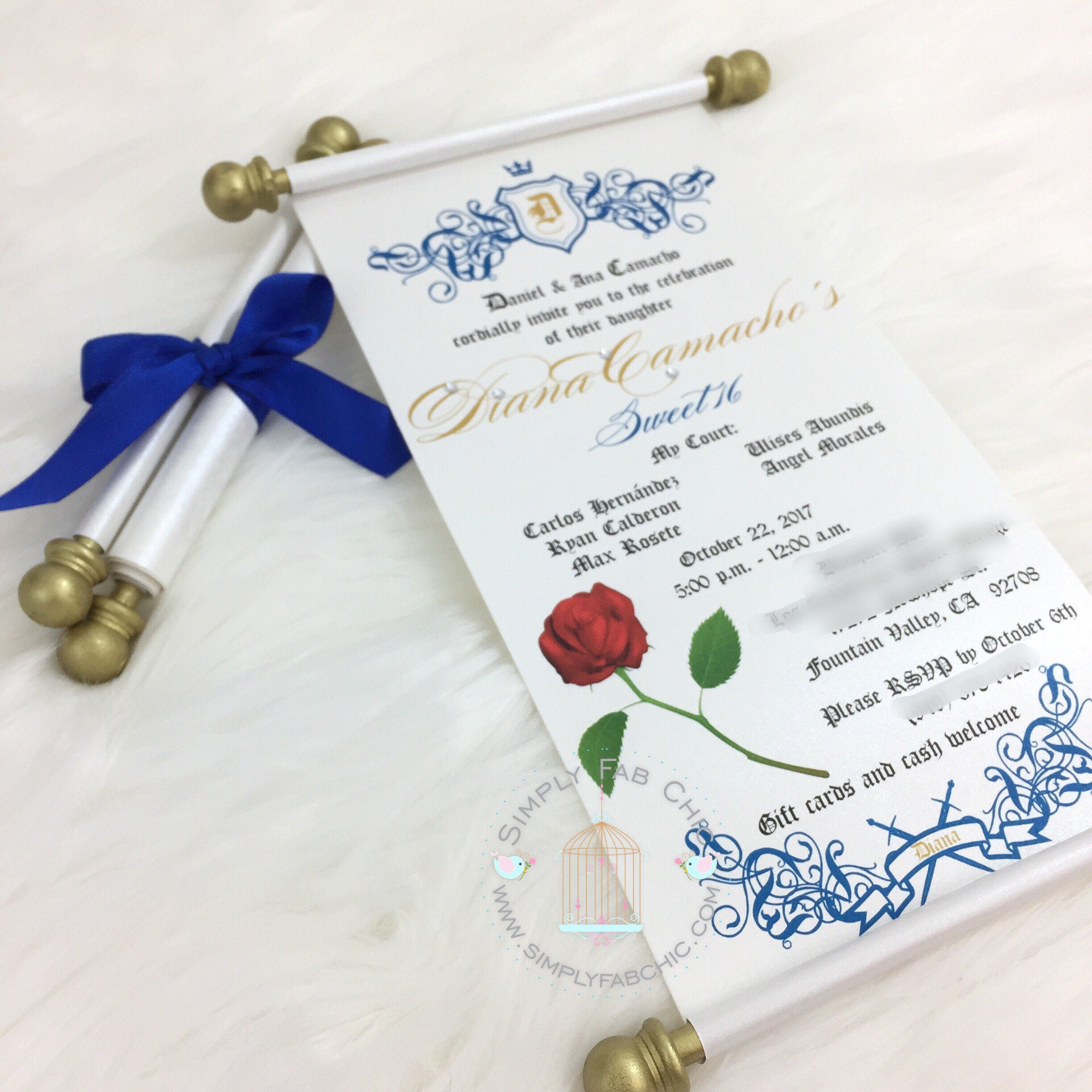 Beauty and the Beast Scroll Invitation Birthday Wedding