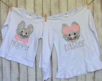 Personalized Easter Bunny with Bow Applique Shirt or Onesie Girl or Boy