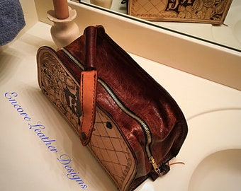 Shaving kit. Shaving Bag. Men's travel caddy. Leather shaving kit. Leathershaving kit. Tooled leather shaving kit.  Monogrammed  shaving kit