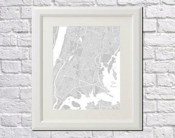 New York City Map The Bronx Street Map Print Map of New York City Street Map Poster Wall Art 7075P